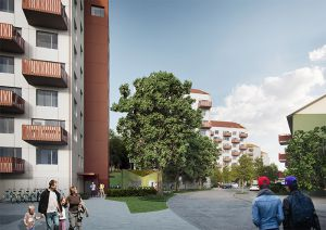Människor flanerar bland nybyggda hus och träd