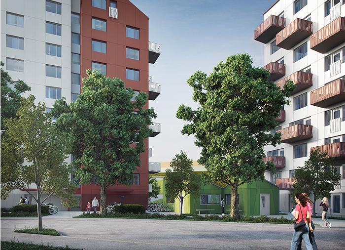 Nybyggda hus, med träd och folk som rör sig