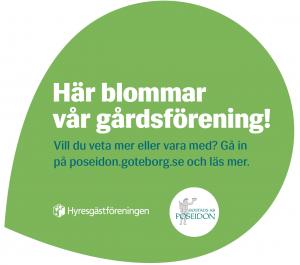 """Skylt med texten """"Här blommar vår gårdsförening!"""""""