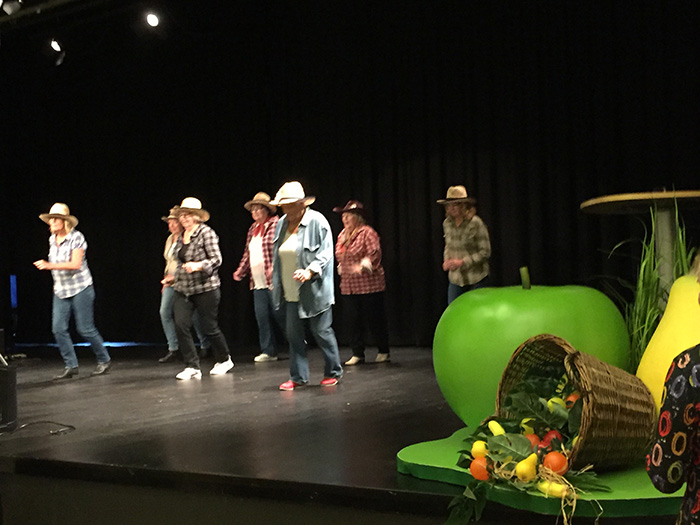 En grupp med hattar dansar linedance