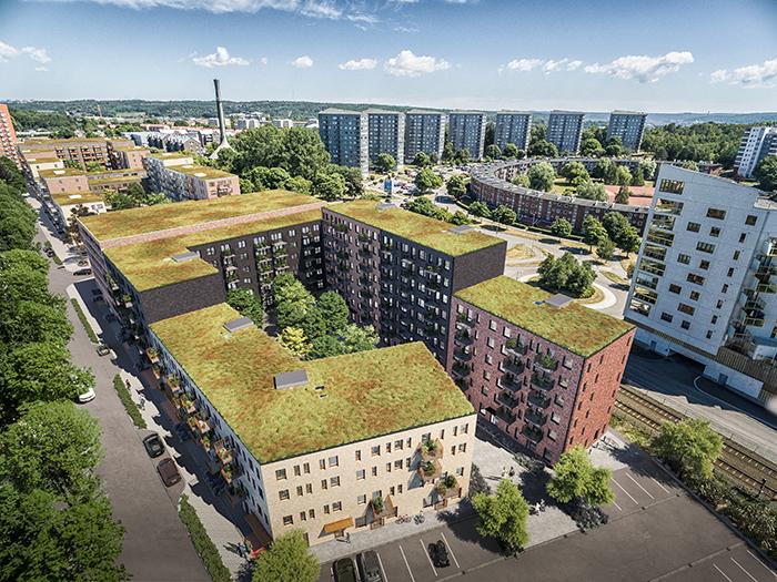 Arkitektritad bild på 4 tegelhus i olika färg och kulörer i flygvy med andra hus bakom