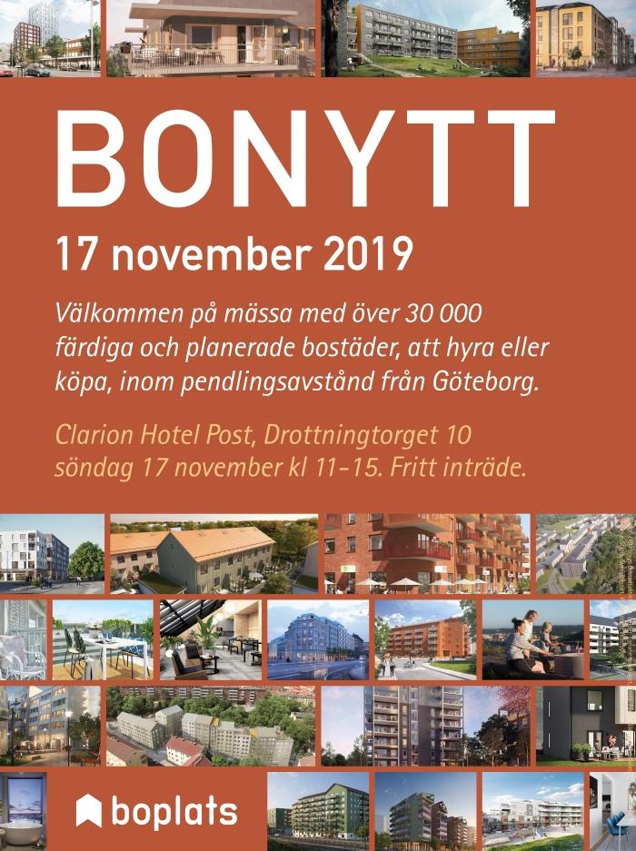 Info om Bonytt 2019, Boplats logotyp samt bilder på hus